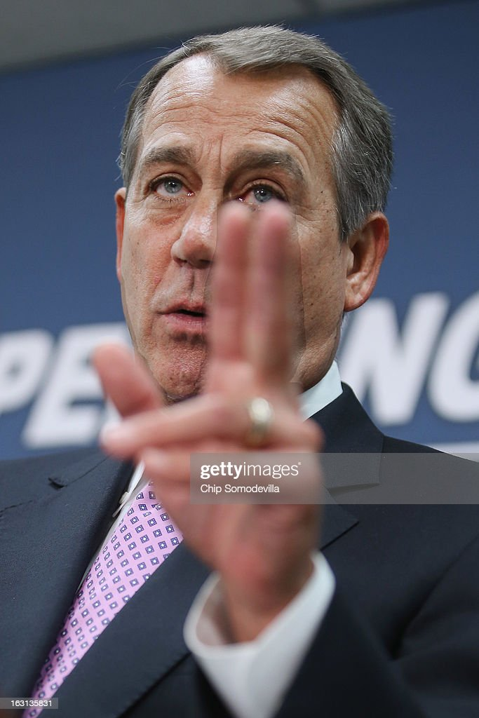 Speaker of the House <a gi-track='captionPersonalityLinkClicked' href=/galleries/search?phrase=John+Boehner&family=editorial&specificpeople=274752 ng-click='$event.stopPropagation()'>John Boehner</a> (R-OH) answers reporters' questions after the weekly House Republican caucus meeting at the U.S. Capitol March 5, 2013 in Washington, DC. With the budget sequester now in effect, Boehner and his party in the House are now focusing on fighting against new taxes and rolling back the federal budget.
