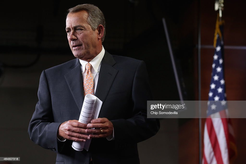 Speaker of the House John Boehner (R-OH) arrives for his weekly news conference at the U.S. Capitol Visitors Center February 26, 2015 in Washington, DC. With less than two days to go before the Department of Homeland Security shutdown, Boehner said that it is still up to the Senate to pass legislation to fund the Department of Homeland Security, adding 'We passed a bill to fund the department six weeks ago. Six weeks ago!'