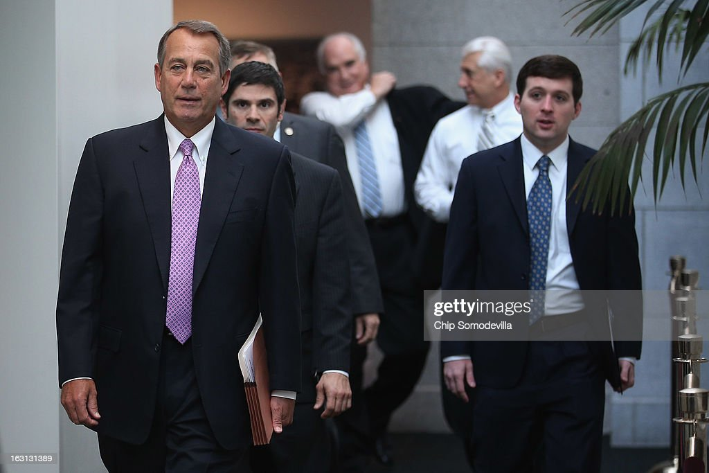 Speaker of the House <a gi-track='captionPersonalityLinkClicked' href=/galleries/search?phrase=John+Boehner&family=editorial&specificpeople=274752 ng-click='$event.stopPropagation()'>John Boehner</a> (R-OH) (L) arrives for the weekly House Republican caucus meeting at the U.S. Capitol March 5, 2013 in Washington, DC. With the budget sequester now in effect, Boehner and his party in the House are now focusing on fighting against new taxes and rolling back the federal budget.