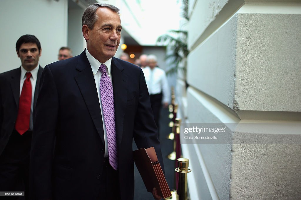 Speaker of the House <a gi-track='captionPersonalityLinkClicked' href=/galleries/search?phrase=John+Boehner&family=editorial&specificpeople=274752 ng-click='$event.stopPropagation()'>John Boehner</a> (R-OH) (C) arrives for the weekly House Republican caucus meeting at the U.S. Capitol March 5, 2013 in Washington, DC. With the budget sequester now in effect, Boehner and his party in the House are now focusing on fighting against new taxes and rolling back the federal budget.