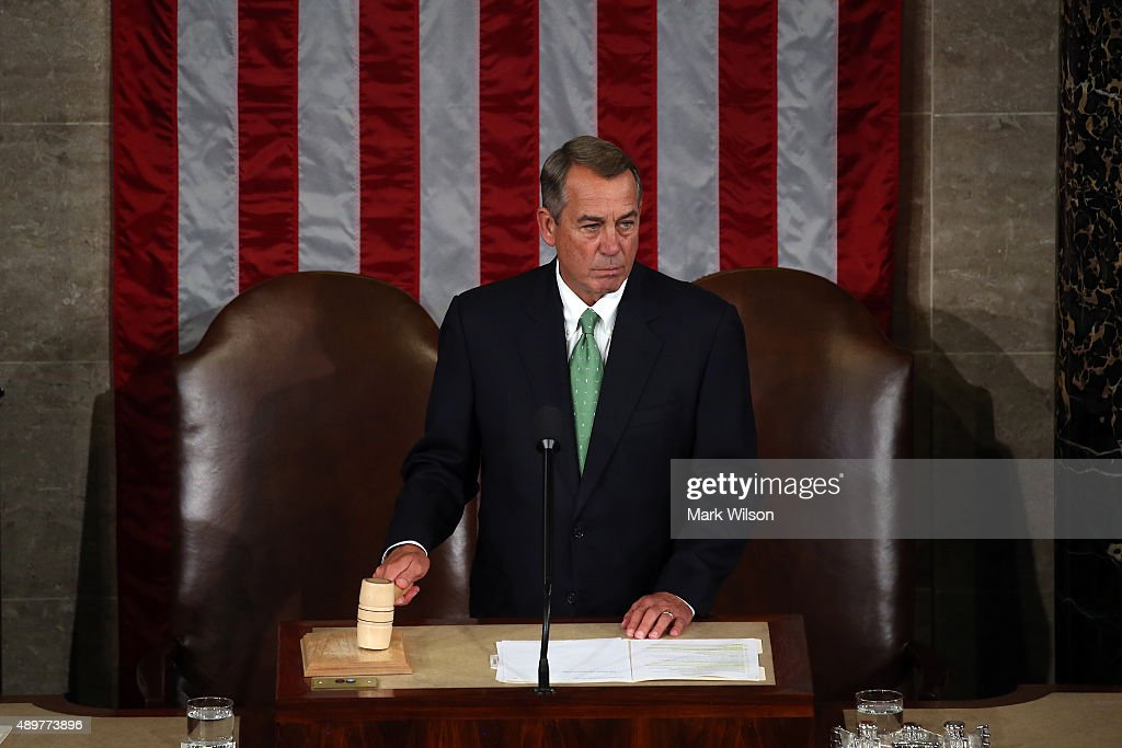 Speaker of the House <a gi-track='captionPersonalityLinkClicked' href=/galleries/search?phrase=John+Boehner&family=editorial&specificpeople=274752 ng-click='$event.stopPropagation()'>John Boehner</a> (R-OH) call to order of the joint meeting of the U.S. Congress in the House Chamber of the U.S. Capitol on September 24, 2015 in Washington, DC. Pope Francis is the first pope to address a joint meeting of Congress and will finish his tour of Washington later today before traveling to New York City.