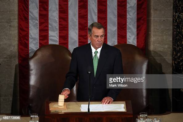 Speaker of the House John Boehner call to order of the joint meeting of the US Congress in the House Chamber of the US Capitol on September 24 2015...