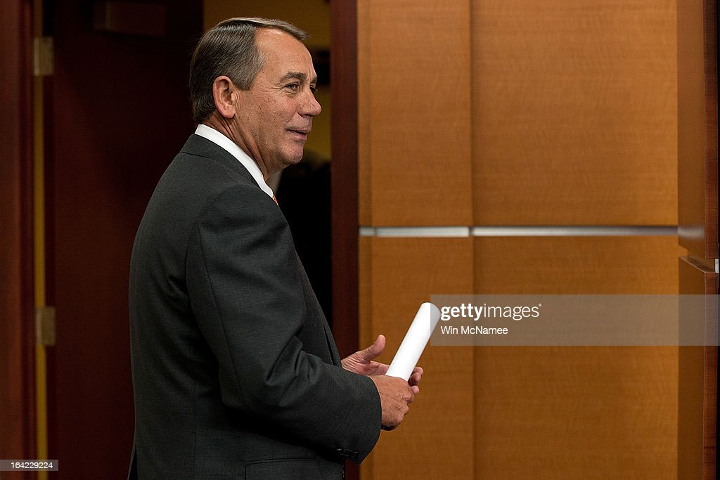 Speaker of the House <a gi-track='captionPersonalityLinkClicked' href=/galleries/search?phrase=John+Boehner&family=editorial&specificpeople=274752 ng-click='$event.stopPropagation()'>John Boehner</a> (R-OH) departs a press conference March 21, 2013 at the U.S. Capitol in Washington, DC. The House today passed legislation that will provide funding for the federal government through September and avoids the possibility of a partial federal shutdown.