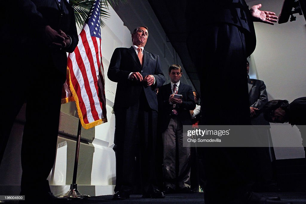 Speaker of the House <a gi-track='captionPersonalityLinkClicked' href=/galleries/search?phrase=John+Boehner&family=editorial&specificpeople=274752 ng-click='$event.stopPropagation()'>John Boehner</a> (R-OH) holds a brief news conference after a House GOP caucus meeting at the U.S. Capitol December 19, 2011 in Washington, DC. Boehner said he expects the House to reject a short-term plan to extend the tax cuts for another two months that passe the Senate last week.