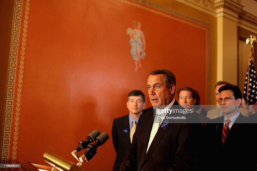 Speaker of the House John Boehner holds a brief news conference outside his office with House GOP Conference Chair Jeb Hensarling and House Majority...