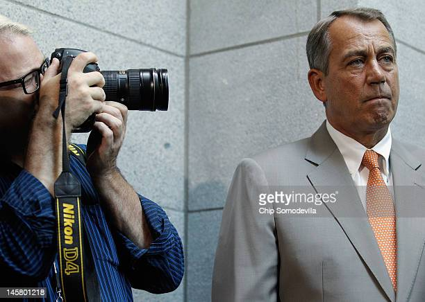 Speaker of the House John Boehner holds a brief press conference after the weekly House GOP caucus meeting at the US Capitol June 6 2012 in...