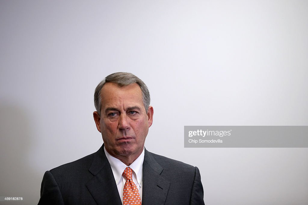 Speaker of the House <a gi-track='captionPersonalityLinkClicked' href=/galleries/search?phrase=John+Boehner&family=editorial&specificpeople=274752 ng-click='$event.stopPropagation()'>John Boehner</a> (R-OH) holds a news conference after the weekly House Republican caucus meeting at the U.S. Capitol November 18, 2014 in Washington, DC. Boehner said that if U.S. President Barack Obama was to veto legislation authorizing the Keystone XL pipeline then he would be calling the American people 'stupid.'