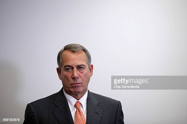 Speaker of the House John Boehner holds a news conference after the weekly House Republican caucus meeting at the US Capitol November 18 2014 in...