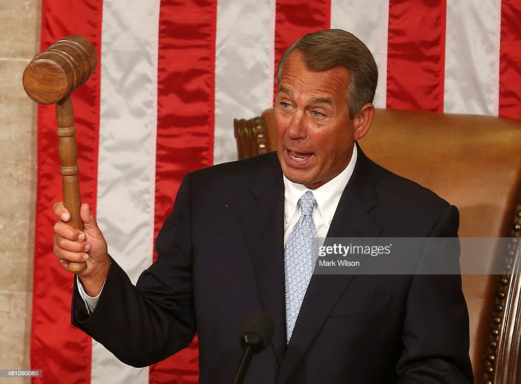Speaker of the House <a gi-track='captionPersonalityLinkClicked' href=/galleries/search?phrase=John+Boehner&family=editorial&specificpeople=274752 ng-click='$event.stopPropagation()'>John Boehner</a> (R-OH) holds his speakers gavel during the first session of the 114th Congress in the House Chambers January 6, 2015 in Washington, DC. Today Congress convened its first session of the 114th Congress with Republicans controlling both the House and Senate.