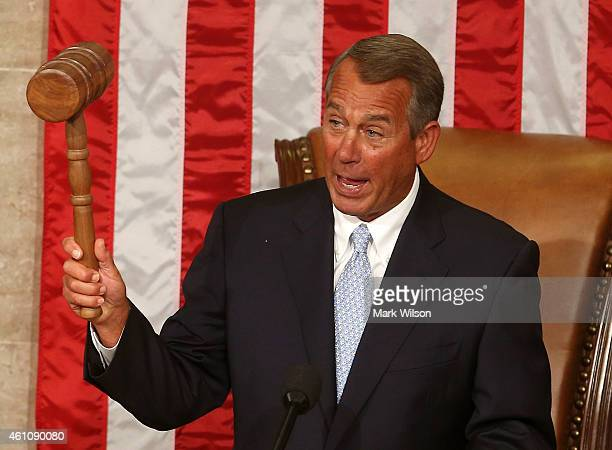 Speaker of the House John Boehner holds his speakers gavel during the first session of the 114th Congress in the House Chambers January 6 2015 in...