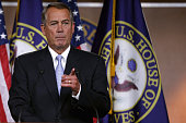 Speaker of the House John Boehner holds his weekly news conference at the US Capitol February 5 2015 in Washington DC Boehner announced that Pope...