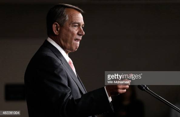 S Speaker of the House John Boehner holds his weekly press conference July 17 2014 in Washington DC Boehner addressed issues relating to immigration...