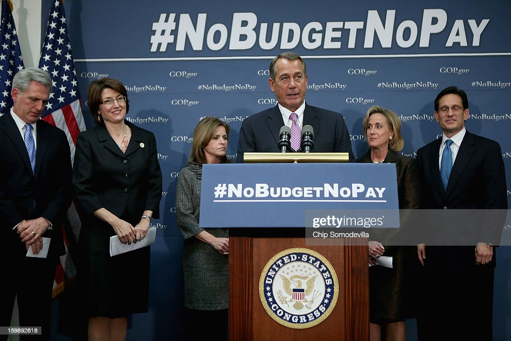 Speaker of the House <a gi-track='captionPersonalityLinkClicked' href=/galleries/search?phrase=John+Boehner&family=editorial&specificpeople=274752 ng-click='$event.stopPropagation()'>John Boehner</a> (R-OH) (4th L) is joined by (L-R) Majority Whip Kevin McCarthy (R-CA), Rep. <a gi-track='captionPersonalityLinkClicked' href=/galleries/search?phrase=Cathy+McMorris+Rodgers&family=editorial&specificpeople=5685653 ng-click='$event.stopPropagation()'>Cathy McMorris Rodgers</a> (R-WA), Rep. Lynn Jenkins (R-KS), Rep. Ann Wagner (R-MO) and Majority Leader <a gi-track='captionPersonalityLinkClicked' href=/galleries/search?phrase=Eric+Cantor&family=editorial&specificpeople=653711 ng-click='$event.stopPropagation()'>Eric Cantor</a> (R-VA) speaks to reporters after a House GOP Conference meeting at the U.S. Capitol January 22, 2013 in Washington, DC. Although many Republican House members are divided over tomorrow's important vote that would put off the debt limit by several months, Boehner and his leadership team believe they have the support to pass the extension.