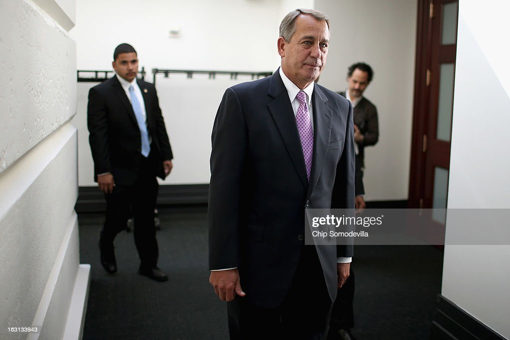 Speaker of the House <a gi-track='captionPersonalityLinkClicked' href=/galleries/search?phrase=John+Boehner&family=editorial&specificpeople=274752 ng-click='$event.stopPropagation()'>John Boehner</a> (R-OH) leaves a news conference after the weekly House Republican caucus meeting at the U.S. Capitol March 5, 2013 in Washington, DC. With the budget sequester now in effect, Boehner and his party in the House are now focusing on fighting against new taxes and rolling back the federal budget.