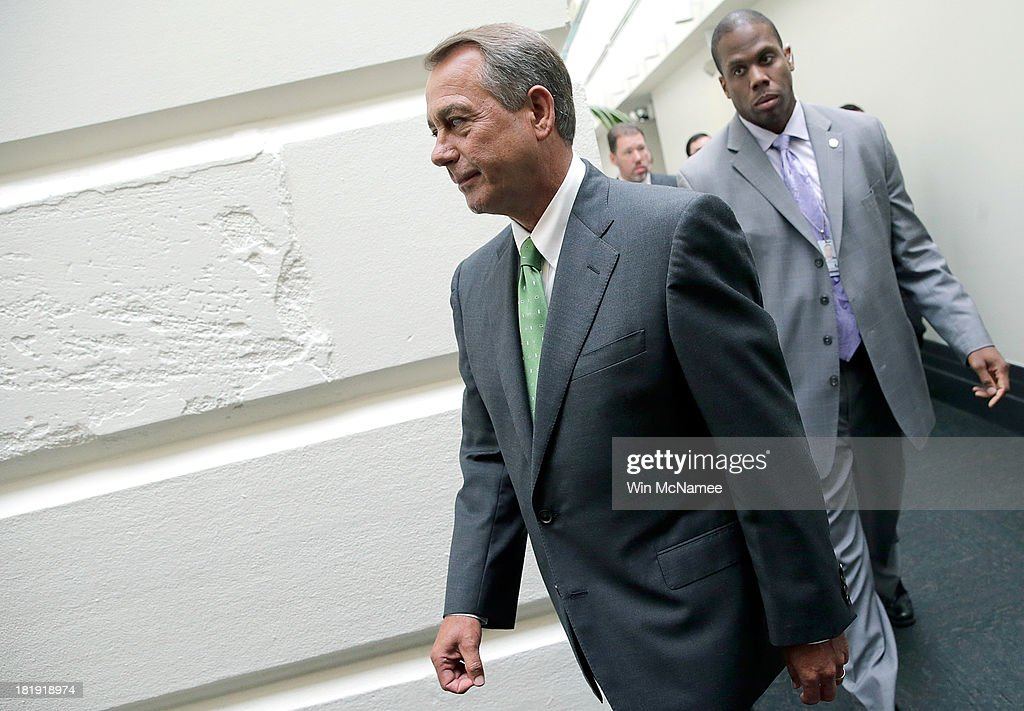 U.S. Speaker of the House John Boehner leaves a press conference at the U.S. Capitol September 26, 2013 in Washington, DC. Boehner signaled that he is urging Republican colleagues to remain flexible in negotiations to avert a governmental shutdown when federal funding runs out next week.