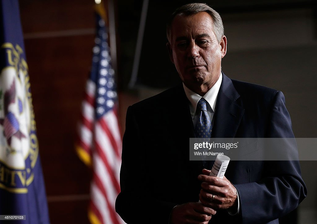 Speaker of the House <a gi-track='captionPersonalityLinkClicked' href=/galleries/search?phrase=John+Boehner&family=editorial&specificpeople=274752 ng-click='$event.stopPropagation()'>John Boehner</a> (R-OH) leaves a press conference at the U.S. Capitol November 21, 2013 in Washington, DC. During his remarks, Boehner said that Rep. Trey Radel's (R-FL) guilty plea on charges of possession of cocaine were 'between Rep. Radel, his family, and his constituents.'