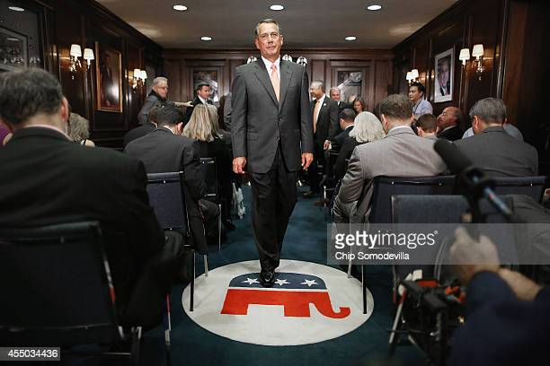 Speaker of the House John Boehner leaves a press conference following a closeddoor conference meeting at the Republican National Committee...