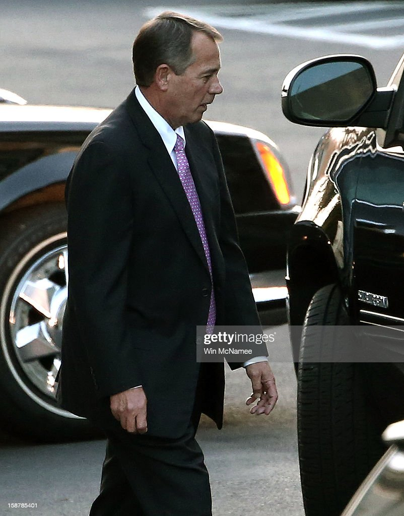 Speaker of the House <a gi-track='captionPersonalityLinkClicked' href=/galleries/search?phrase=John+Boehner&family=editorial&specificpeople=274752 ng-click='$event.stopPropagation()'>John Boehner</a> (R-OH) leaves the White House after meeting with U.S. President Barack Obama and other Congressional leaders December 28, 2012 in Washington, DC. Obama and members of Congress continue to seek a solution to avert the possibility of large tax increases combined with deep spending cuts, also known as the 'fiscal cliff'.