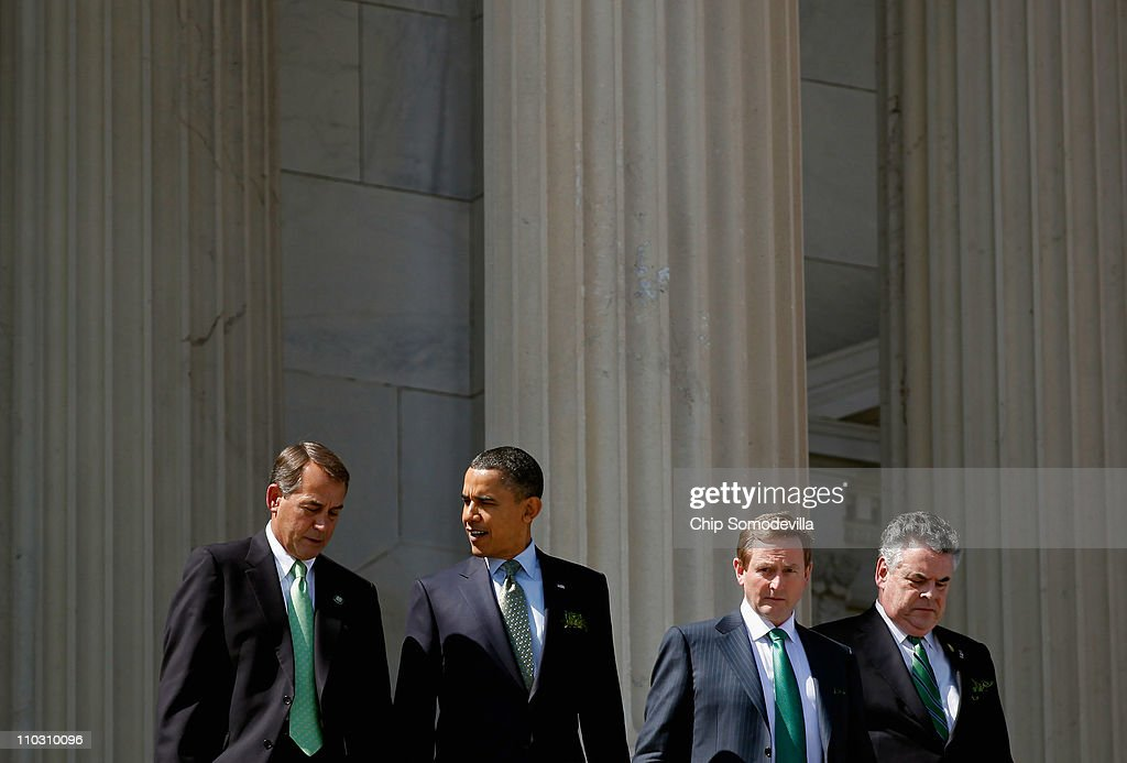Speaker of the House John Boehner President Barack Obama Taoiseach of Ireland Enda Kenny and Rep Peter King leave the US Capitol after a St Patrick's...