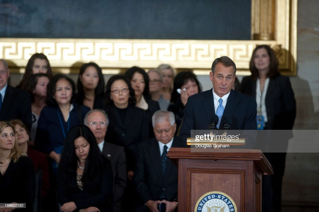 Speaker of the House John Boehner, R-OH., speaks in the Rotunda as U.S. Senator Daniel Inouye (D-HI) lies in state December 20, 2012 on Capitol Hill in Washington, DC. The late Senator had died at the age of 88 on Monday at the Walter Reed National Military Medical Center in Bethesda, Maryland where he had been hospitalized since early December. A public funeral service will be held at the Washington National Cathedral on Friday for Senator Inouye, a World War II veteran and the second-longest serving senator in history. His remains will be returned and laid to rest in his home state.