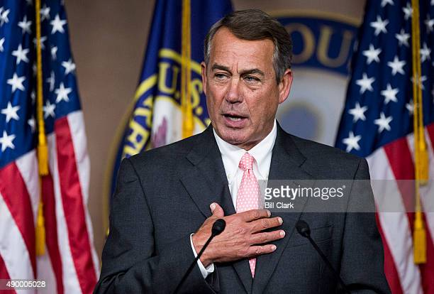Speaker of the House John Boehner ROhio holds a news conference on Friday Sept 25 to discuss his decision to resign his position as Speaker and leave...