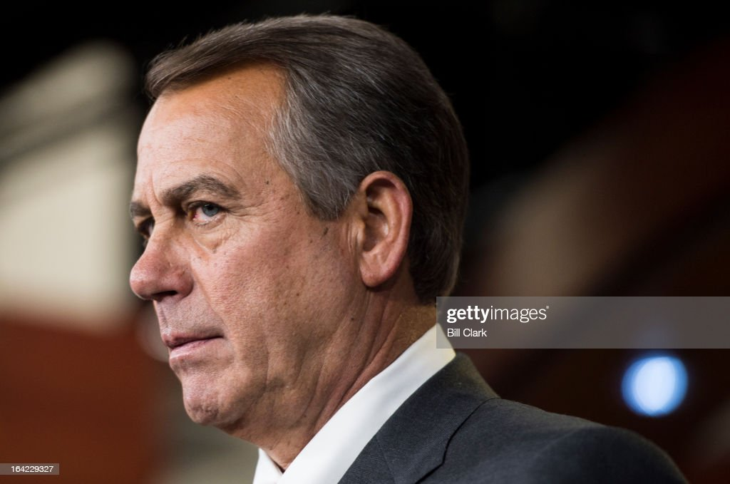 Speaker of the House John Boehner, R-Ohio, holds his weekly on camera news conference in the Capitol on Thursday, March 21, 2013.