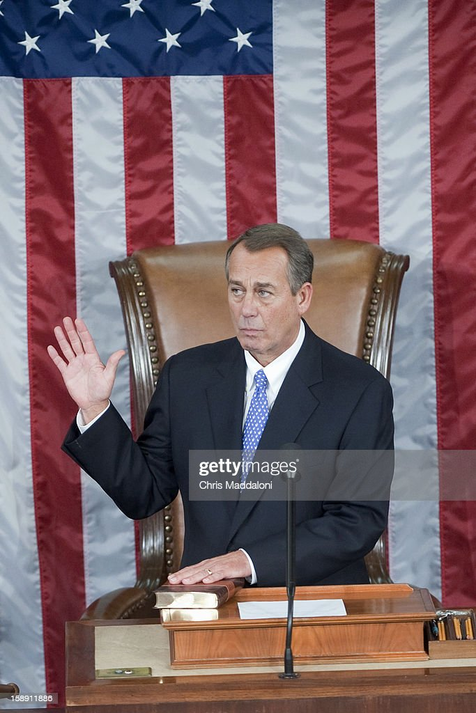 Speaker of the House John Boehner, R-Ohio, is sworn-in on the House floor on the first day of the 113th Congress. Boehner was reelected to his 2nd term.
