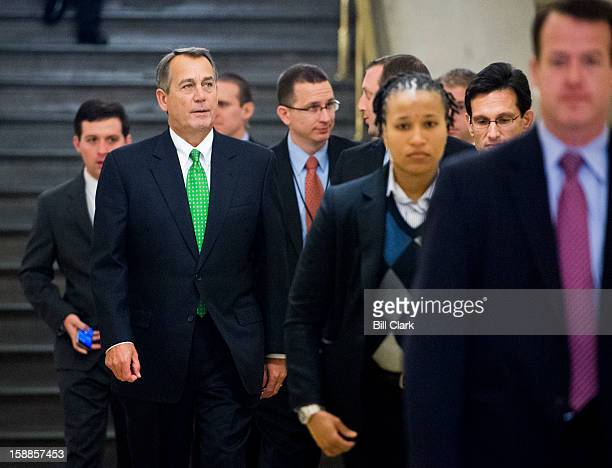 Speaker of the House John Boehner ROhio left and House Majority Leader Eric Cantor RVa right arrive for the House Republican Conference meeting on...