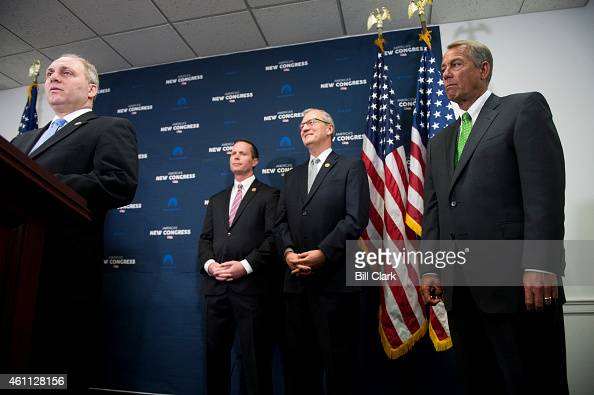 Speaker of the House John Boehner ROhio right listens as House Majority Whip Steve Scalise RLa answers a question about his speech to a David Duke...