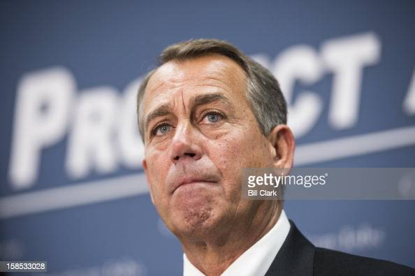 Speaker of the House John Boehner ROhio speaks to the media about the fiscal cliff talks following the House Republican Conference meeting in the...