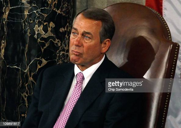 Speaker of the House John Boehner seems to fight back tears while listening to Australian Prime Minister Julia Gillard address a joint meeting of the...