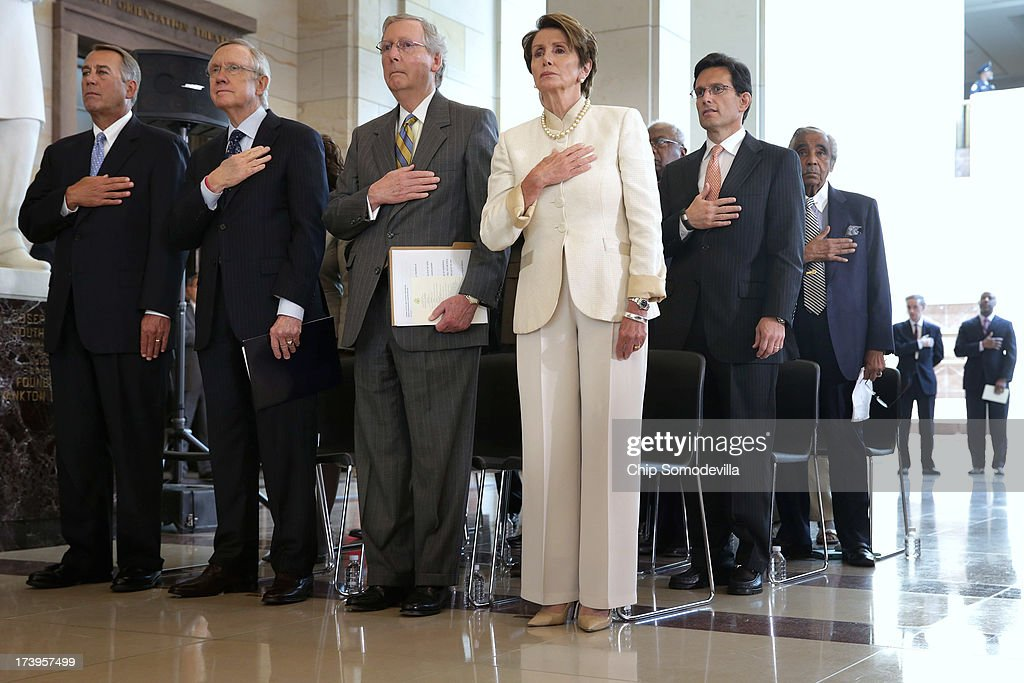 Speaker of the House John Boehner (R-OH), Senate Majority Leader Harry Reid (D-NV), Senate Minority Leader Mitch McConnell (R-KY), House Minority Leader Rep. Nancy Pelosi (D-CA), House Majority Leader Eric Cantor (R-VA) and Rep. Charles Rangel (D-NY) participate in a ceremony to celebrate the life Nobel Peace Prize laureate and former South Africa President Nelson Mandela on the occasion of his 95th birthday in the U.S. Capitol Visitor Center July 18, 2013 in Washington, DC. July 18 is Nelson Mandela Day, during which people are asked to give 67 minutes of time to charity and service in their community to honor the 67 years Mandela gave to public service. Mandela was admitted to a South African hospital June 8 where he is being treated for a recurring lung infection.