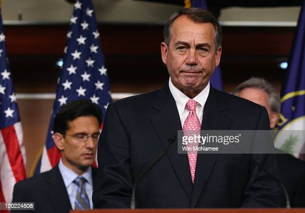 S Speaker of the House John Boehner speaks during a news conference on the debt limit impasse with House Majority Leader Eric Cantor at the US...