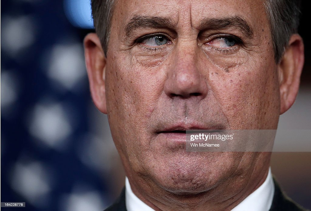 Speaker of the House <a gi-track='captionPersonalityLinkClicked' href=/galleries/search?phrase=John+Boehner&family=editorial&specificpeople=274752 ng-click='$event.stopPropagation()'>John Boehner</a> (R-OH) speaks during a press conference March 21, 2013 at the U.S. Capitol in Washington, DC. The House today passed legislation that will provide funding for the federal government through September and avoids the possibility of a partial federal shutdown.
