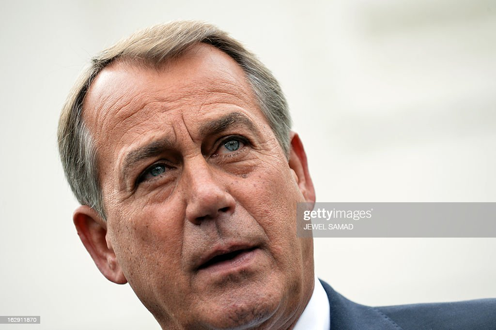 US Speaker of the House <a gi-track='captionPersonalityLinkClicked' href=/galleries/search?phrase=John+Boehner&family=editorial&specificpeople=274752 ng-click='$event.stopPropagation()'>John Boehner</a> speaks to reporters following a meeting with US President Barack Obama on March 1, 2013 in Washington, DC. Obama summoned congressional leaders Friday in a bid to avert a damaging $85 billion in arbitrary budget cuts. Obama was bound by law to initiate the automatic, indiscriminate cuts, which could wound the already fragile economy, cost a million jobs and harm military readiness, by 11.59 pm in the absence of an deficit cutting agreement. AFP PHOTO/Jewel Samad