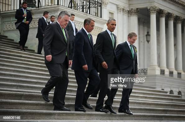 Speaker of the House John Boehner US President Barack Obama and Irish Prime Minister or Taoiseach Enda Kenny walk down the steps of the House of...