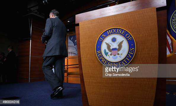 Speaker of the House John Boehner walks away from the podium after announcing that he is retiring from the House and stepping down as Speaker at the...