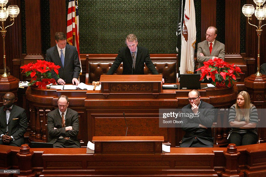 Speaker of the House Michael Madigan presides over The Illinois House of Representatives as they discuss a resolution to impeach Governor Rod...