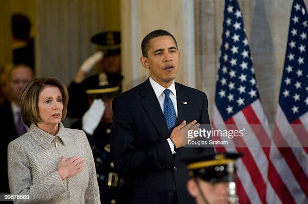 Speaker of the House Nancy Pelosi DCA and President Barack Obama during the tribute in celebration of the Bicentennial of Abraham Lincoln's birth in...