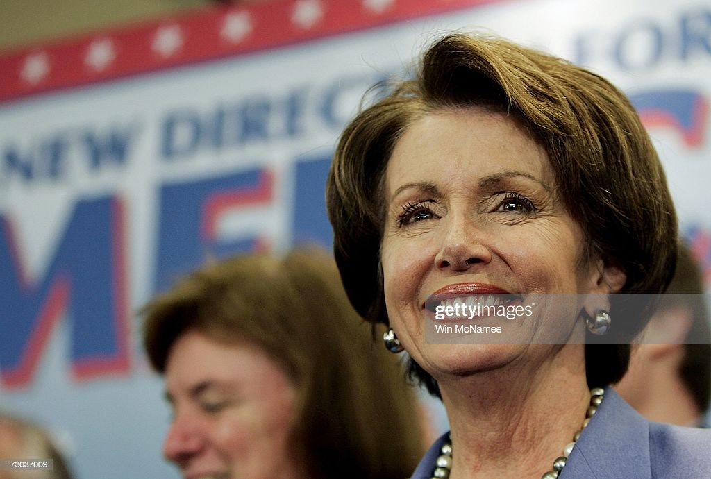 Speaker of the House <a gi-track='captionPersonalityLinkClicked' href=/galleries/search?phrase=Nancy+Pelosi&family=editorial&specificpeople=169883 ng-click='$event.stopPropagation()'>Nancy Pelosi</a> (D-CA) smiles during a news conference highlighting the first 100 hours of the 110th Congress January 18, 2007 in Washington, DC. The new Congress passed legislation including raising the minimum wage, national security provisions, ethics reform, and renewable energy resolutions.