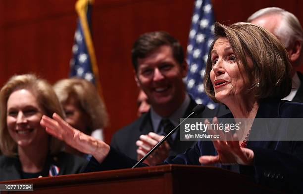 Speaker of the House Nancy Pelosi speaks before signing the legislation repealing the 'don't ask don't tell' policy at the US Capitol December 21...