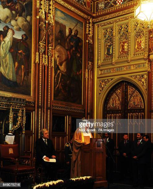 Speaker of the House of Commons John Bercow listens as the Amir of the State of Kuwait His Highness Sheikh Sabah AlAhmad AlJaber AlSabah speaks in...