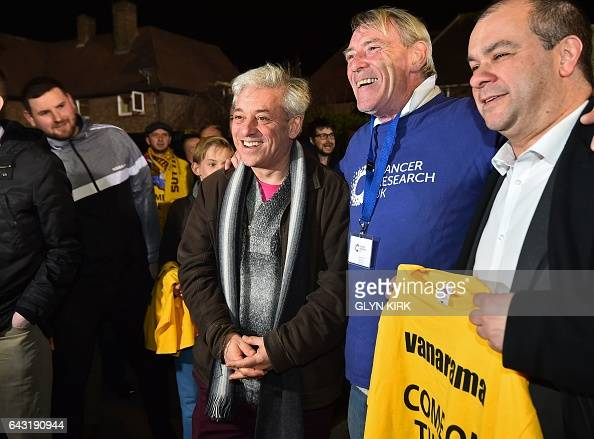 Speaker of the House of Commons John Bercow poses for a photograph as he arrives at the ground ahead of the English FA Cup fifth round football match...