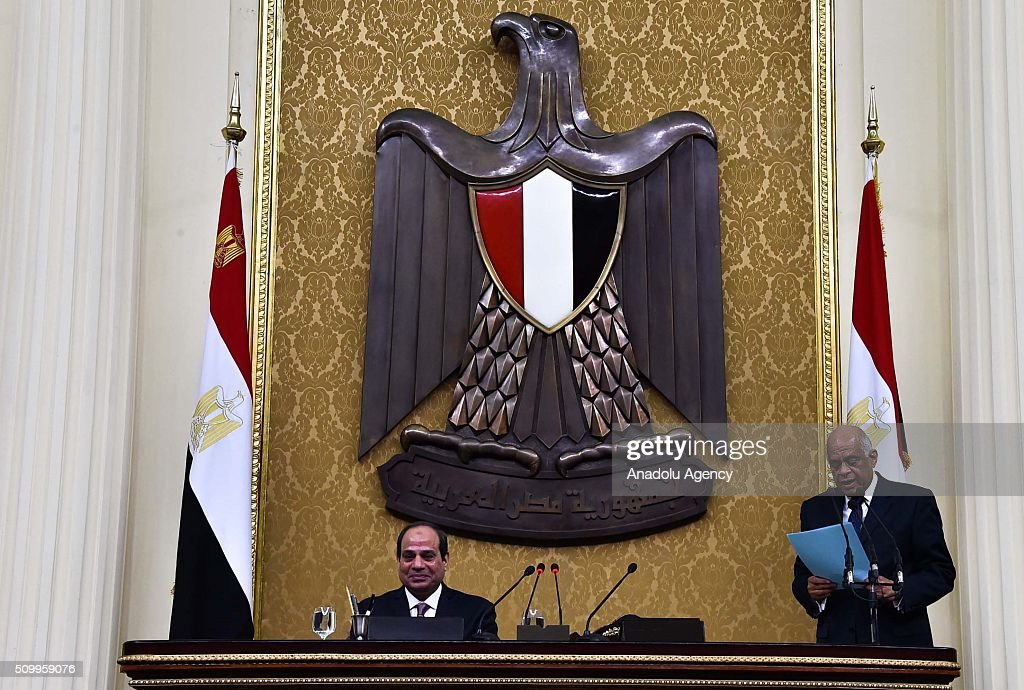 Speaker of the House of Representatives Ali Abdel-Al (R) delivers a speech next to Egyptian President Abdel Fettah al-Sisi (L) during the new legislation opening session at the House of Representatives in Cairo, Egypt on February 13, 2016.