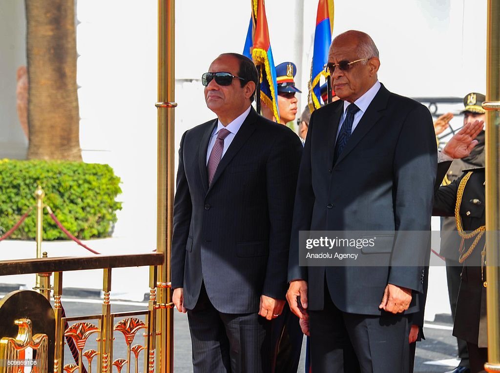 Speaker of the House of Representatives Ali Abdel-Al (R) welcomes Egyptian President Abdel Fettah al-Sisi (L) with official welcoming ceremony during the new legislation opening session at the House of Representatives in Cairo, Egypt on February 13, 2016.
