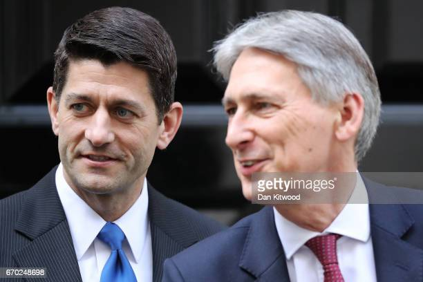 S speaker of the House of Representatives Paul Ryan is greeted by British Chancellor Philip Hammond to 11 Downing Street on April 19 2017 in London...