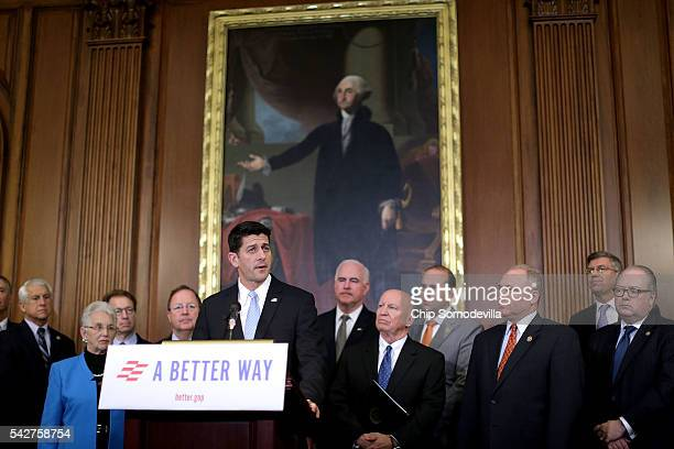 Speaker of the House Paul Ryan addresses a news conference to introduce the House Republicans' tax reform proposal with House Ways and Means...