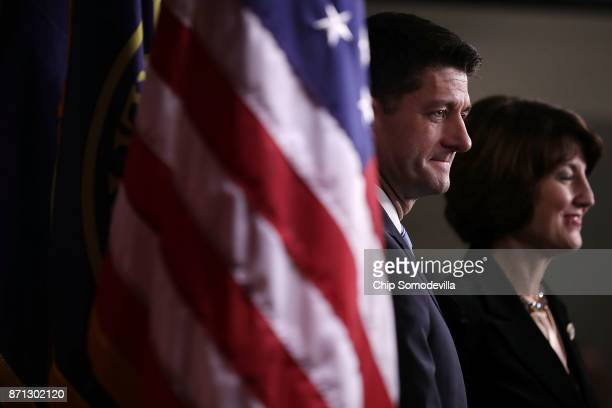 Speaker of the House Paul Ryan and Rep Cathy McMorris Rodgers hold a news conference at the US Capitol November 7 2017 in Washington DC Ryan and...