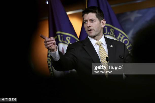 Speaker of the House Paul Ryan answers questions at the US Capitol during a press conference March 2 2017 in Washington DC Ryan said US Attorny...