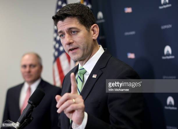 S Speaker of the House Paul Ryan answers questions during a press conference following a meeting of the House Republican caucus at the US Capitol May...